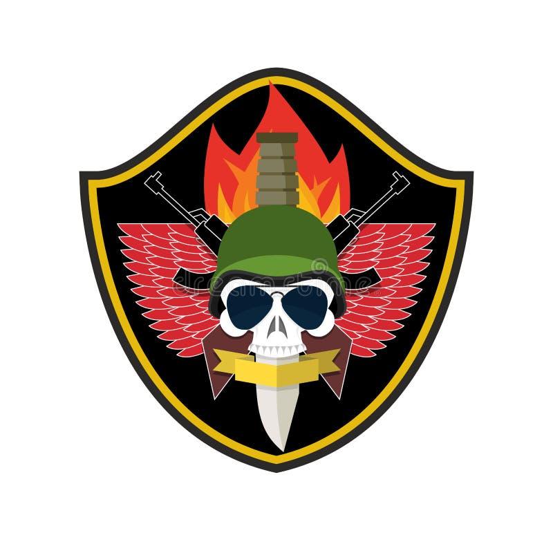 Crânio do logotipo do exército Crachá dos soldados Emblema militar Asas e weap ilustração royalty free