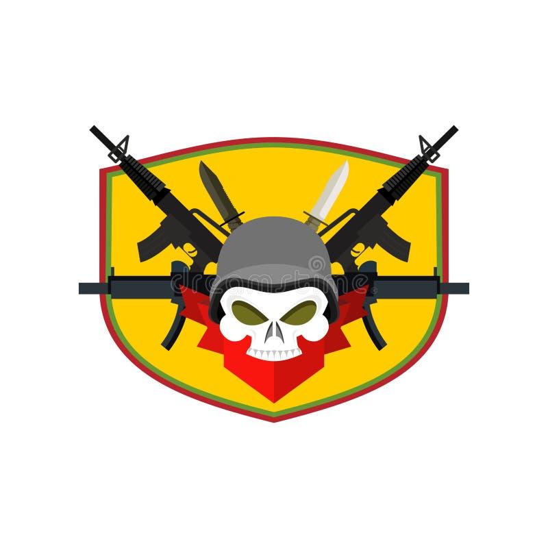 Crânio do logotipo do exército Crachá dos soldados Emblema militar Asas e weap ilustração do vetor