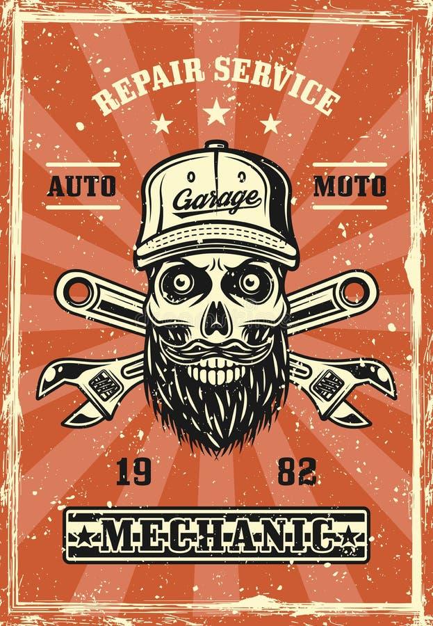 Crânio do mecânico com vetor retro do cartaz da barba ilustração do vetor