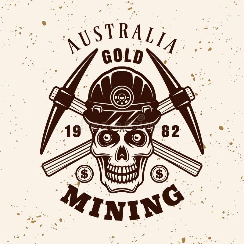 Crânio do mineiro de ouro e emblema do vetor das picareta ilustração royalty free