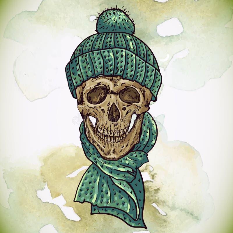 Crânio do moderno do Natal Ilustração do inverno ilustração stock