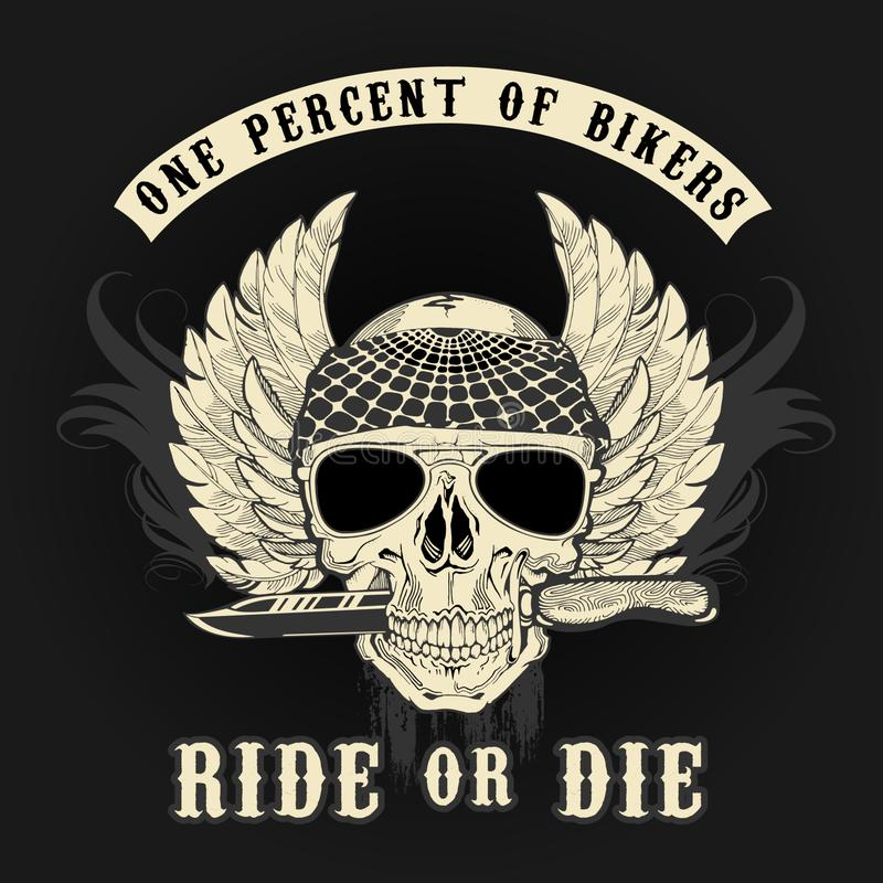 Crânio do motociclista com faca ilustração royalty free