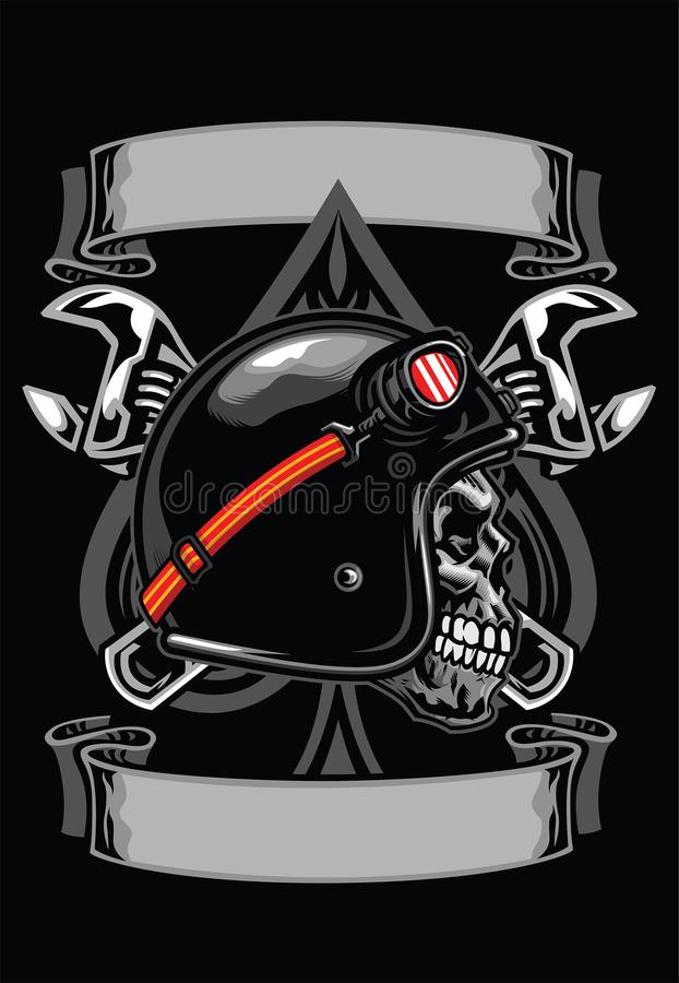 Crânio do motociclista com pá e a chave cruzada ilustração do vetor