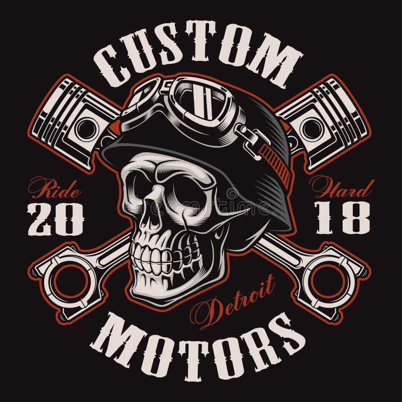 Crânio do motociclista com versão cruzada da cor do projeto do t-shirt dos pistões ilustração do vetor