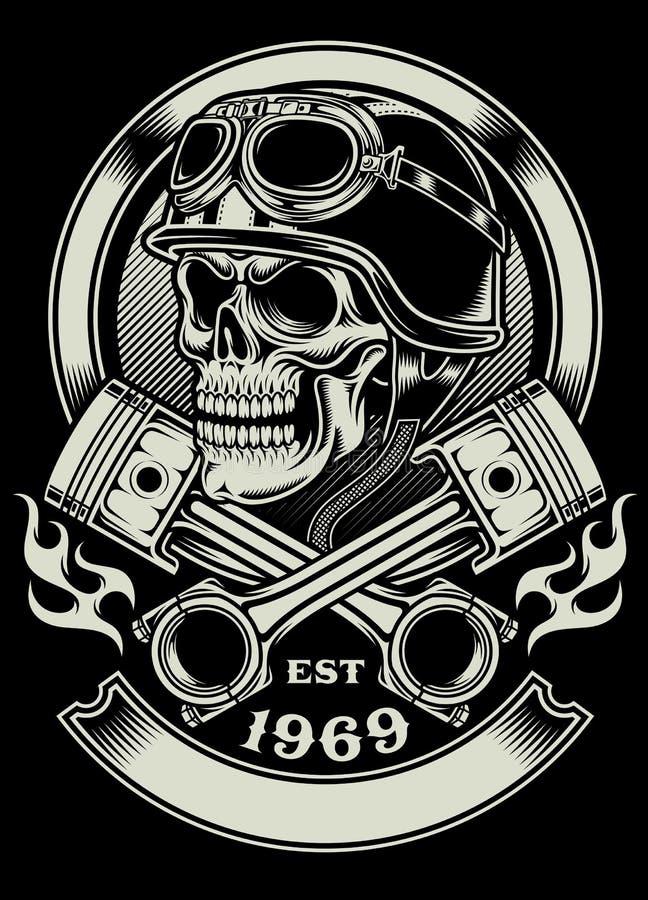 Crânio do motociclista do vintage com o emblema cruzado do pistão ilustração royalty free