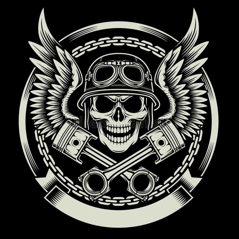 Crânio do motociclista do vintage com o emblema das asas e dos pistões ilustração do vetor