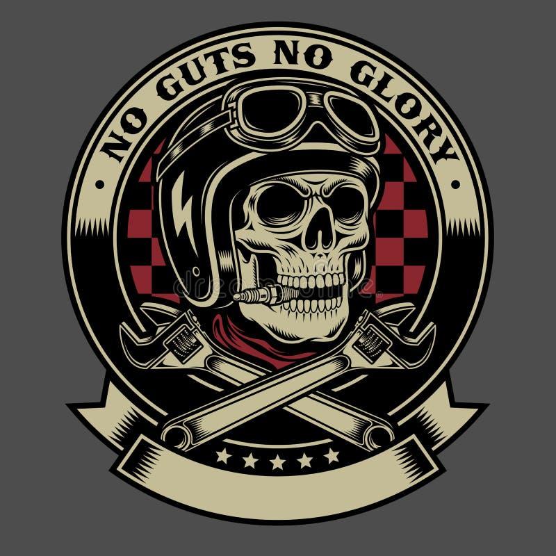 Crânio do motociclista do vintage com o emblema cruzado das chaves de macaco ilustração do vetor