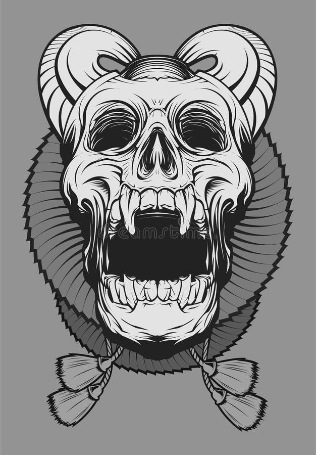 Crânio do palhaço do diabo ilustração stock