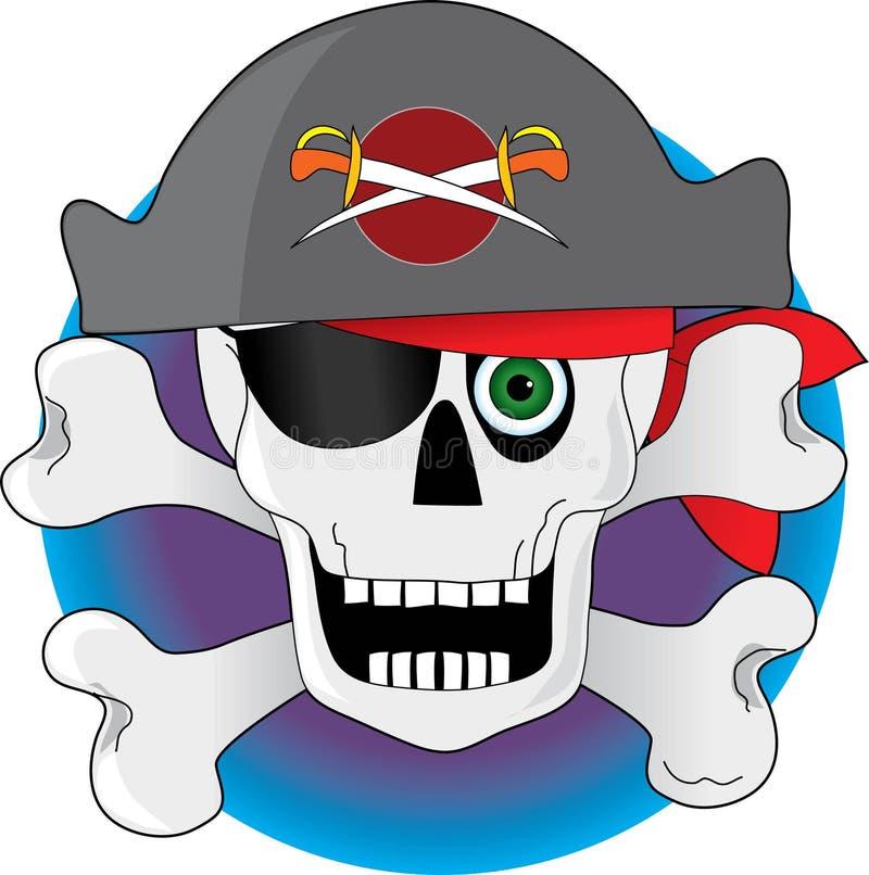 Crânio do pirata ilustração royalty free