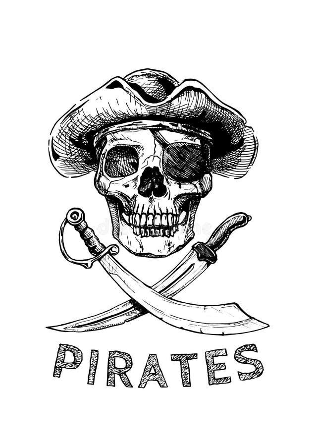 Crânio do pirata com espadas transversais ilustração do vetor