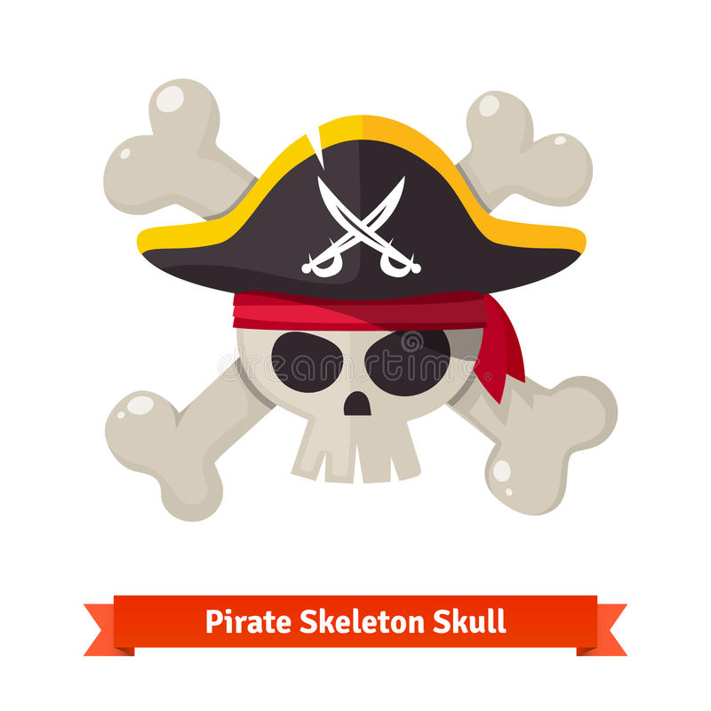 Crânio do pirata com os ossos cruzados no chapéu negro ilustração royalty free