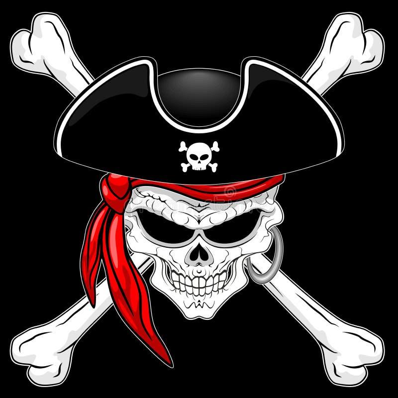 Crânio do pirata com ossos cruzados e ilustração vermelha do vetor do Bandana no fundo preto ilustração royalty free