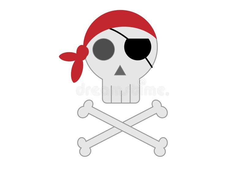 Crânio do pirata com ossos cruzados Vetor imagens de stock royalty free