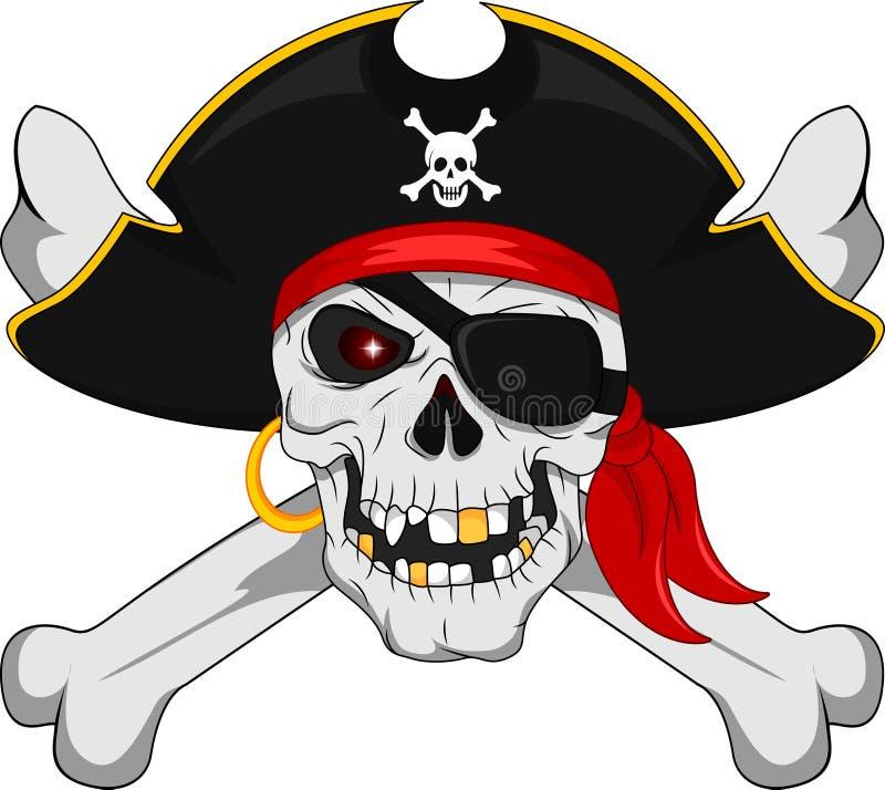 Crânio do pirata e ossos cruzados ilustração do vetor