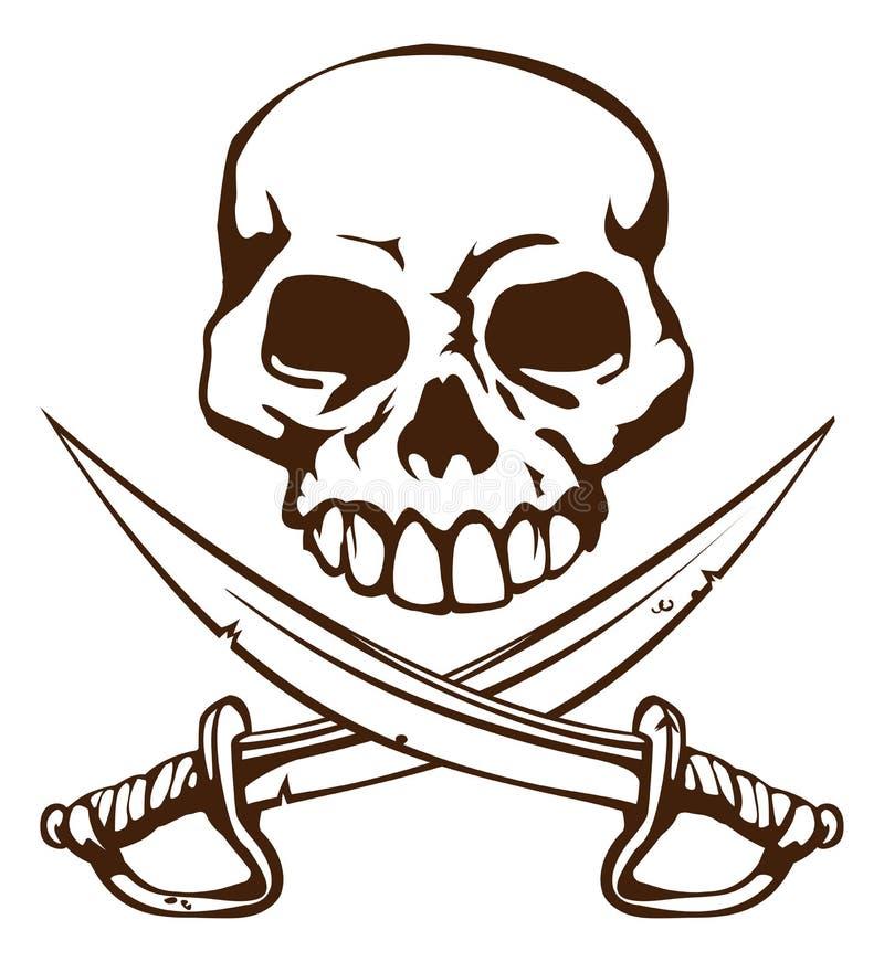 Crânio do pirata e símbolo cruzado das espadas ilustração stock