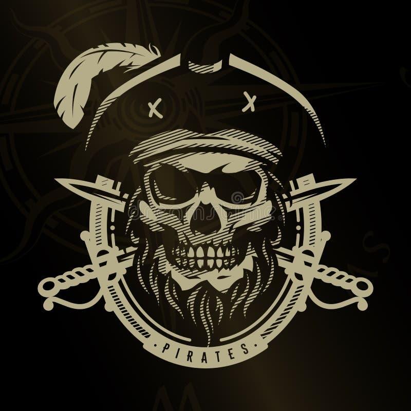 Crânio do pirata no estilo do vintage Cabeça de esqueleto e espadas cruzadas em um fundo escuro ilustração do vetor