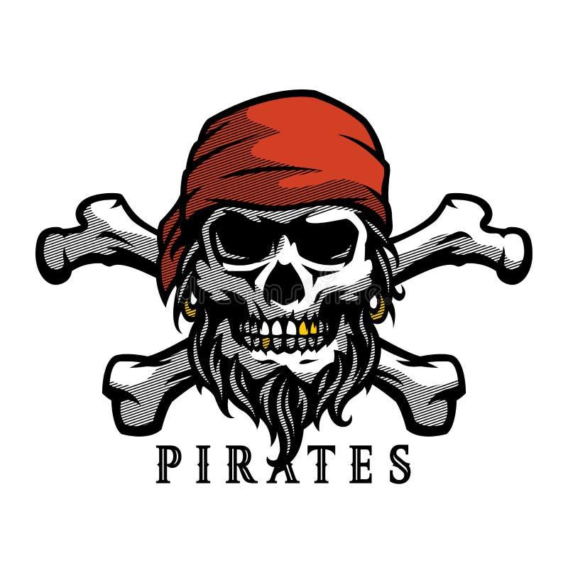Crânio do pirata no estilo do vintage Cabeça de esqueleto e ossos cruzados Ilustração do vetor, emblema, logotipo ilustração do vetor