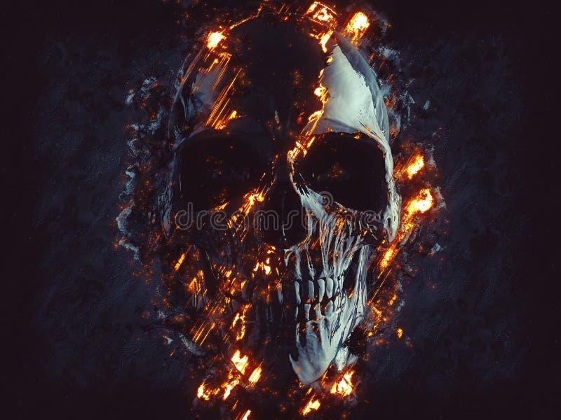 Crânio do preto escuro - chamas e lava de incandescência ilustração do vetor