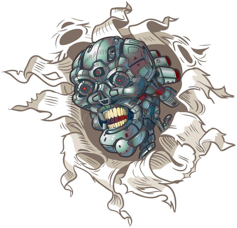 Crânio do robô do vetor que rasga-se fora do fundo ilustração royalty free