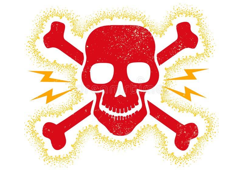 Crânio do vermelho do vintage ilustração stock
