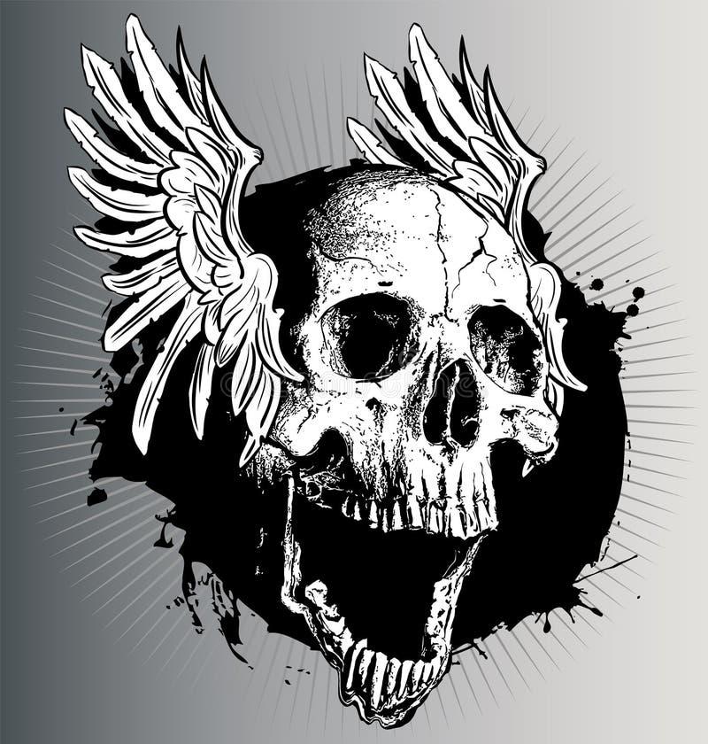 Crânio do vetor com asas ilustração stock