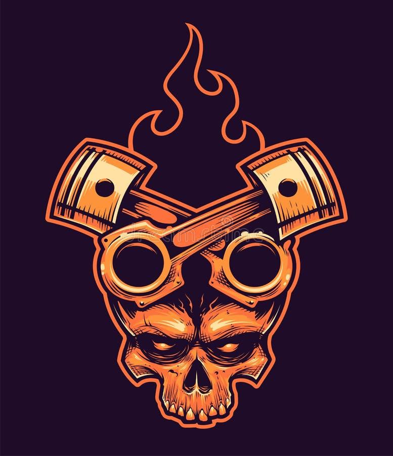 Crânio do vetor com pistões e fogo cruzados ilustração stock
