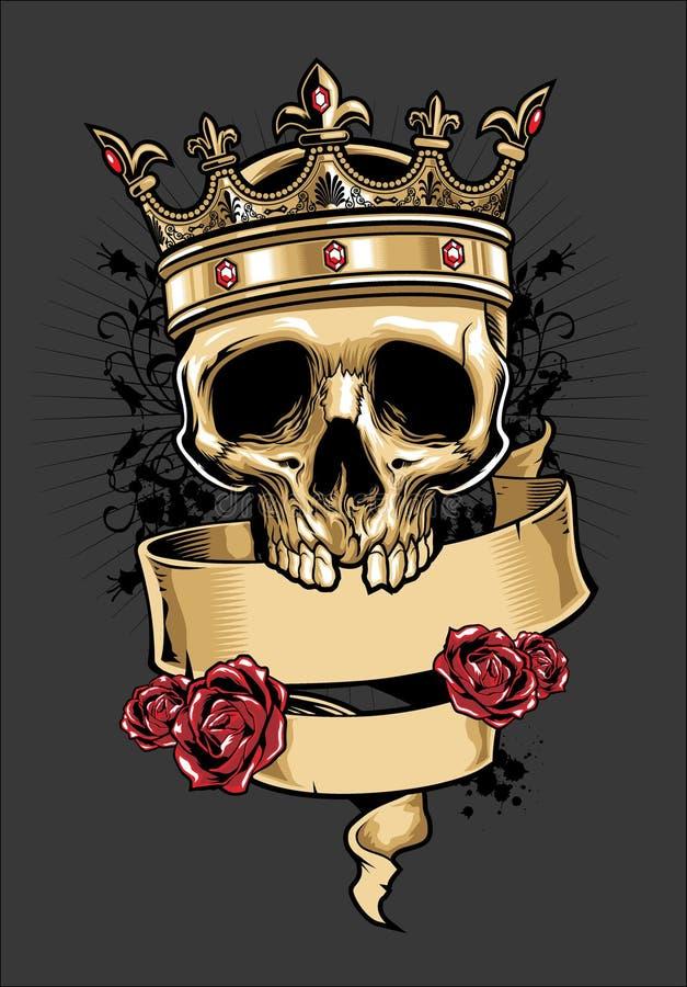 Crânio do vetor que veste uma coroa do rei ilustração royalty free