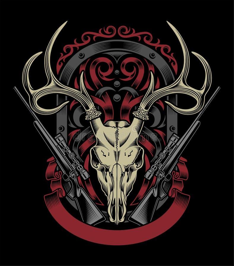 Crânio dos cervos com rifle ilustração do vetor
