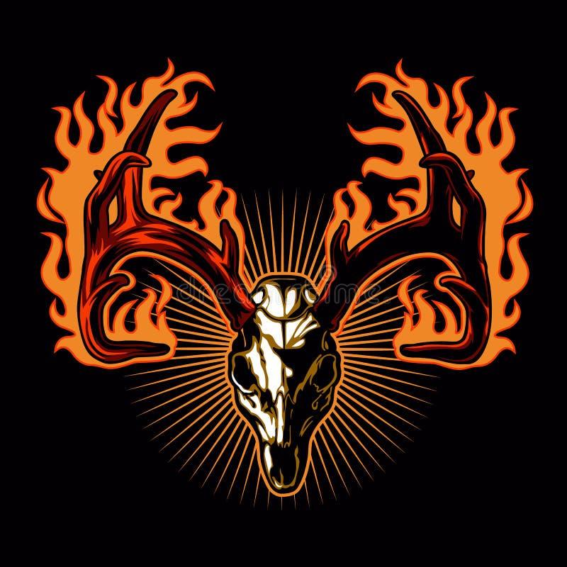 Crânio dos cervos no fogo Tattoodos cervos ilustração royalty free