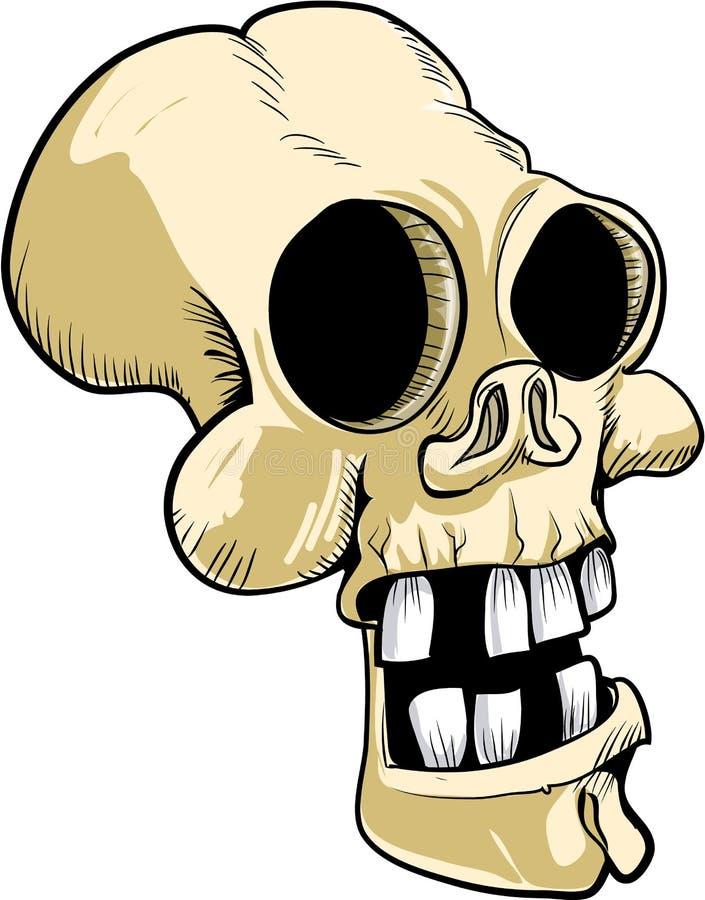 Crânio dos desenhos animados com dentes grandes ilustração do vetor