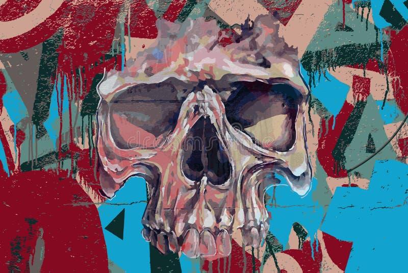 Crânio dos grafittis no fogo ilustração do vetor