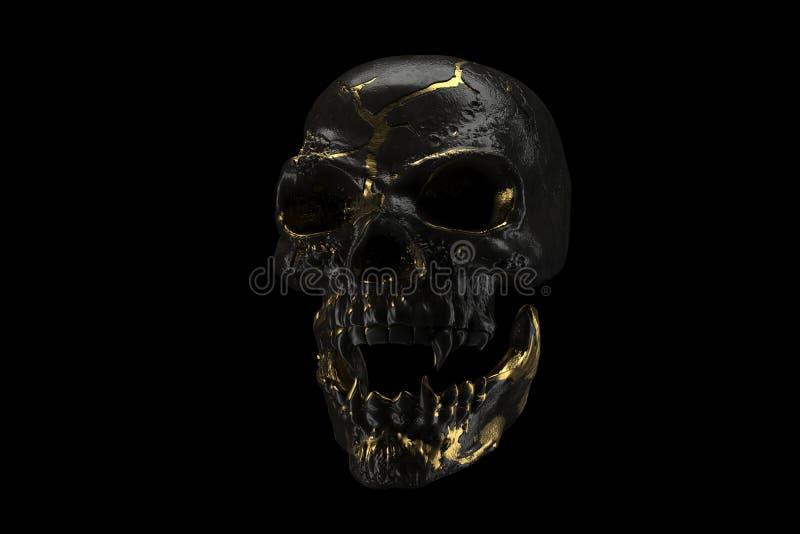 Crânio dourado e preto isolado no fundo preto O cr?nio demon?aco de um vampiro Cara assustador do skilleton para Dia das Bruxas ilustração royalty free