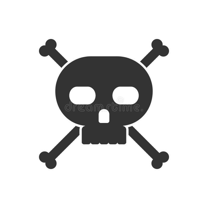 Crânio e ícone dos crossbones ilustração do vetor