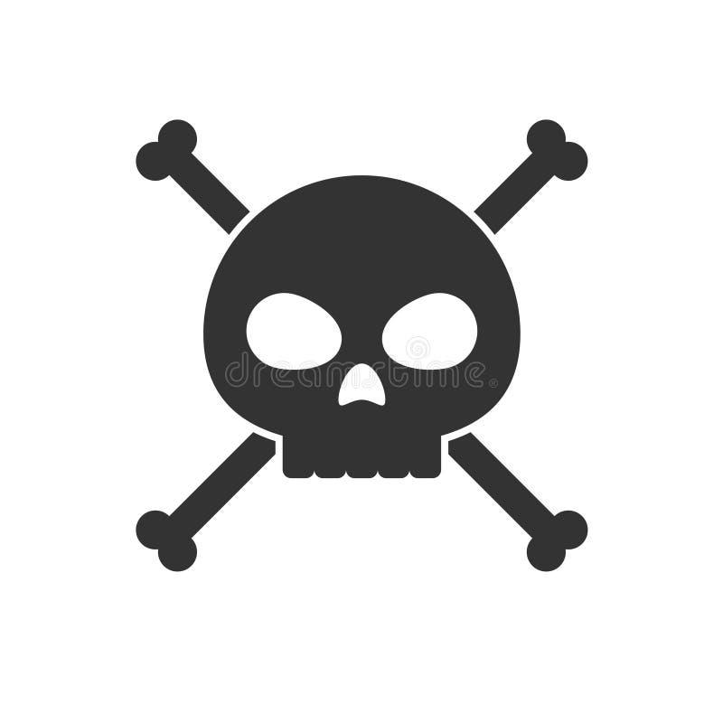 Crânio e ícone dos crossbones ilustração stock