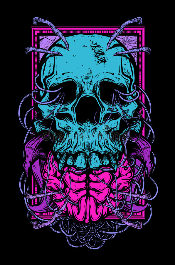 Crânio e cérebro ilustração do vetor