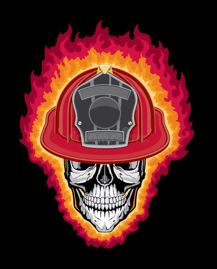 Crânio e capacete flamejantes do sapador-bombeiro ilustração royalty free