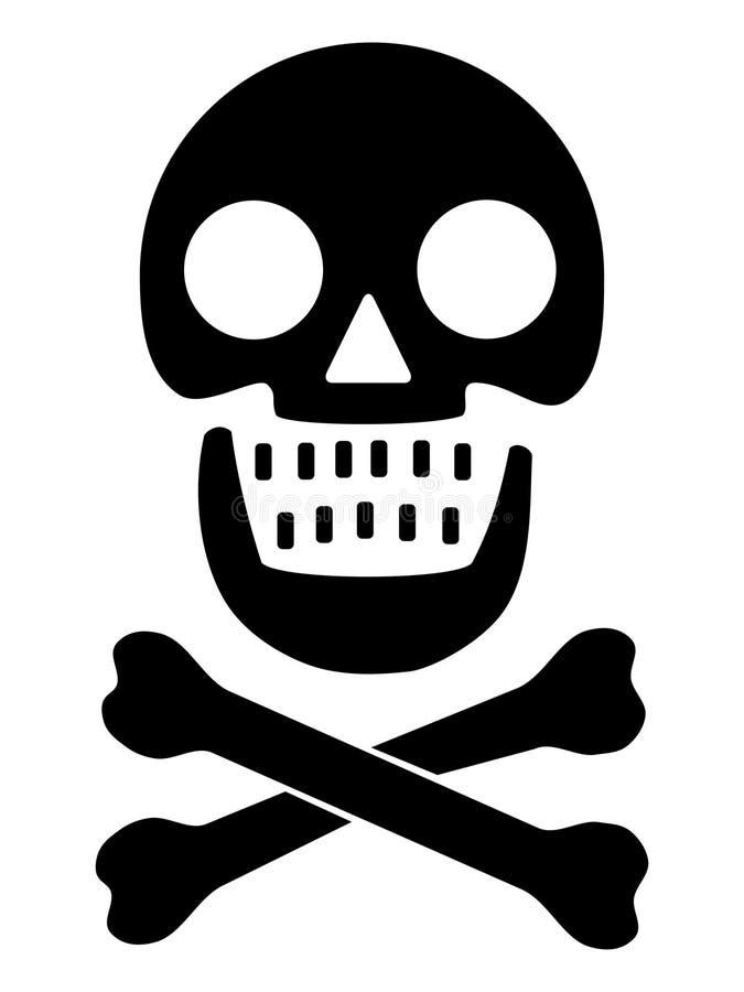 Crânio e cross-bones ilustração do vetor