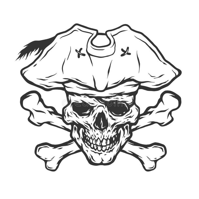 Crânio e crossbones do pirata ilustração do vetor