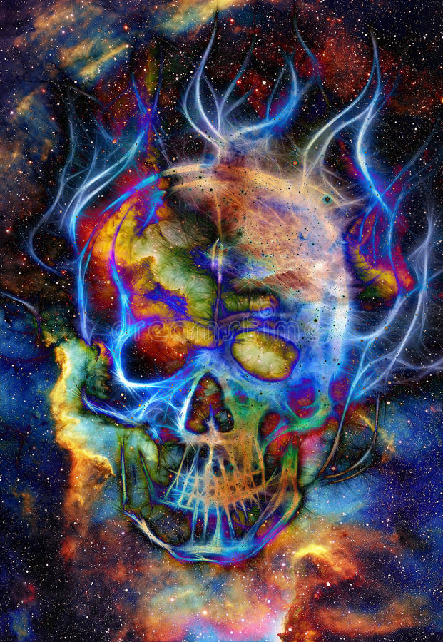 Crânio e efeito do fractal Fundo do espaço de cor ilustração royalty free