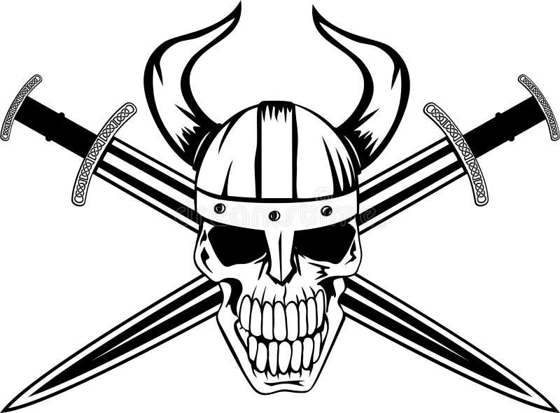 Crânio e espada ilustração royalty free
