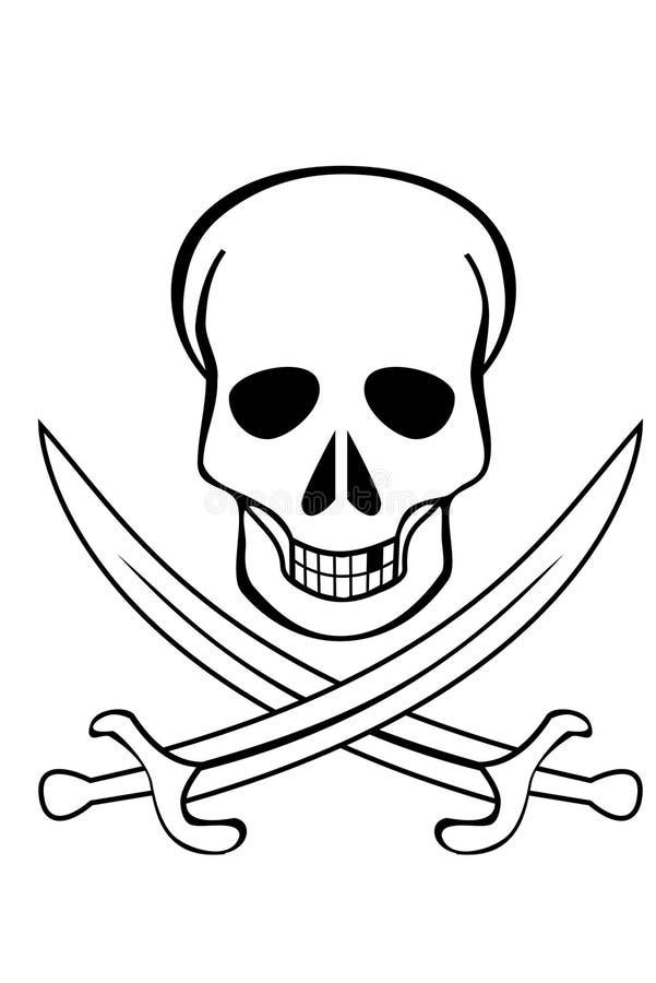 Crânio e espadas cruzadas ilustração stock
