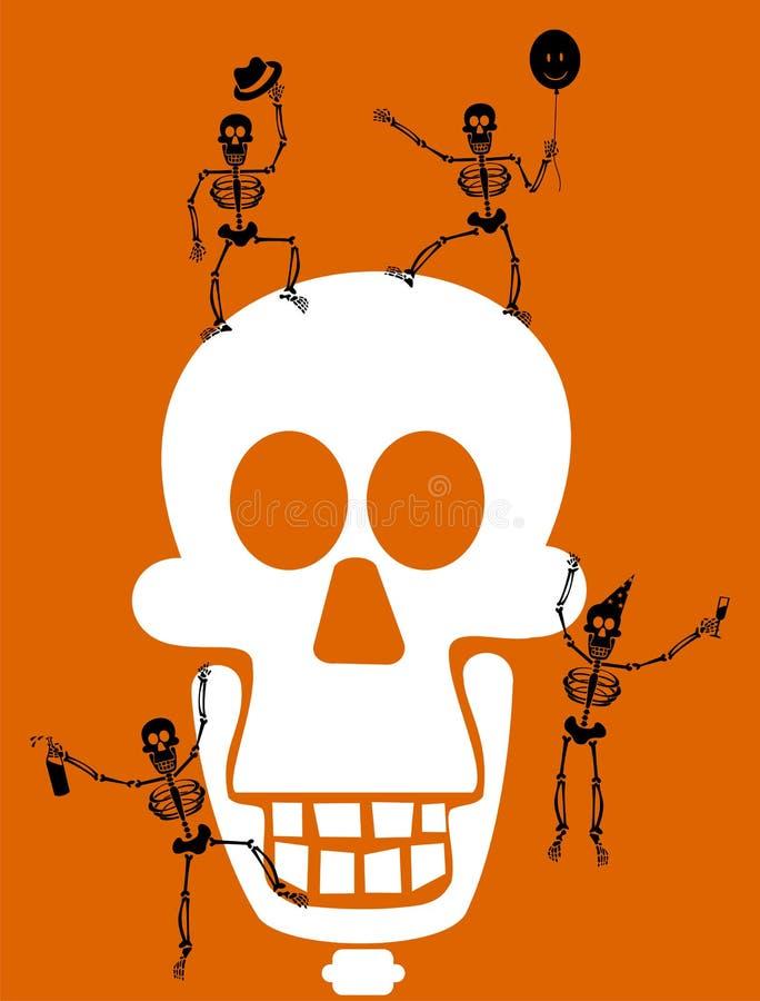 Crânio e esqueletos de Halloween. Cartão ilustração royalty free