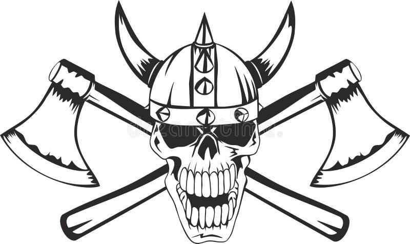 Crânio e machados ilustração stock