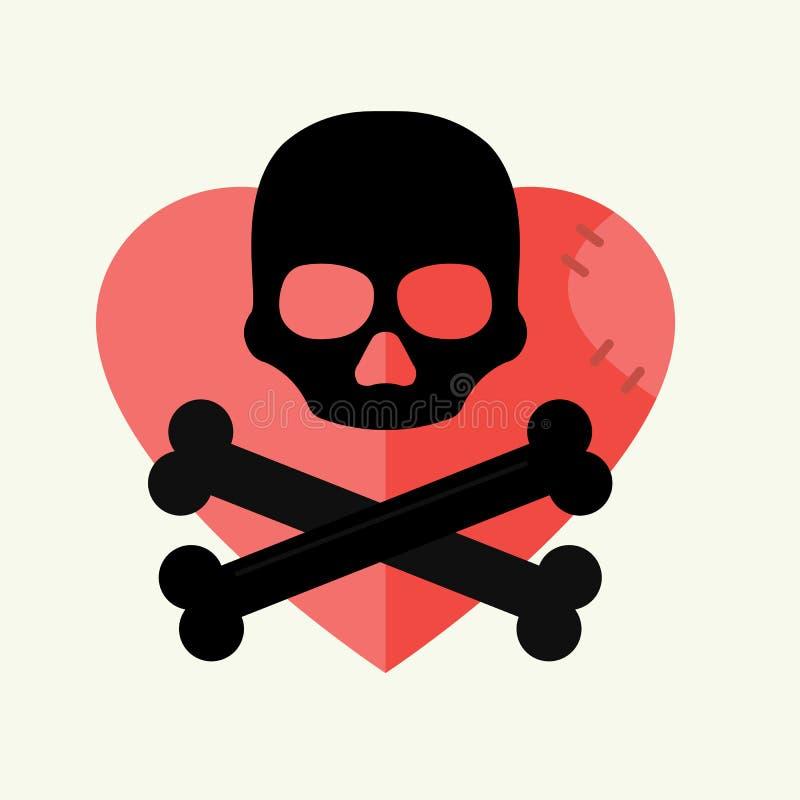 Crânio e marca dos ossos cruzados do aviso do perigo no coração vermelho e no vetor de esqueleto inoperante do símbolo do Dia das ilustração royalty free