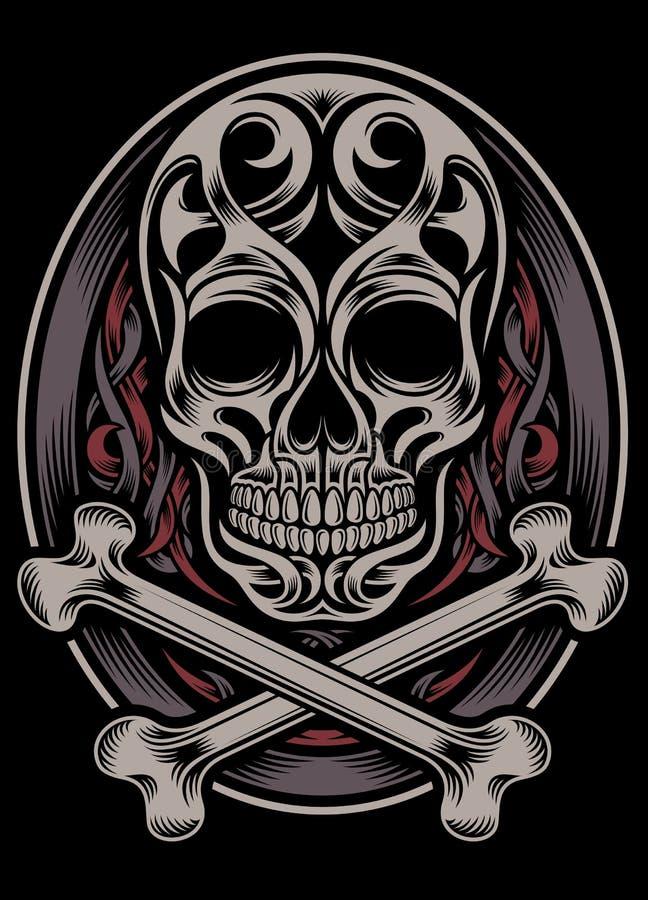 Crânio e ossos cruzados ilustração royalty free