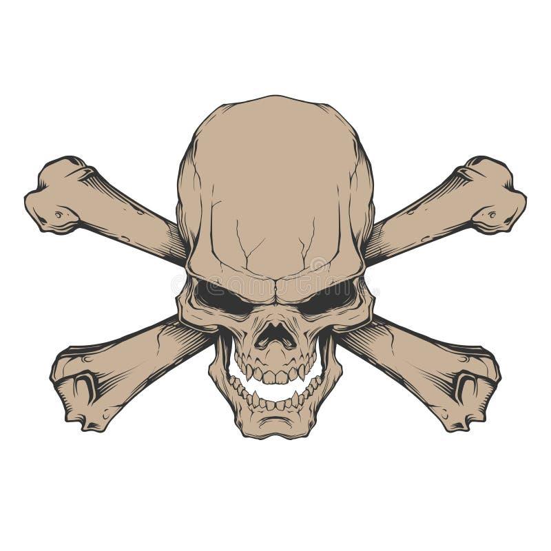 Crânio e ossos cruzados ilustração stock