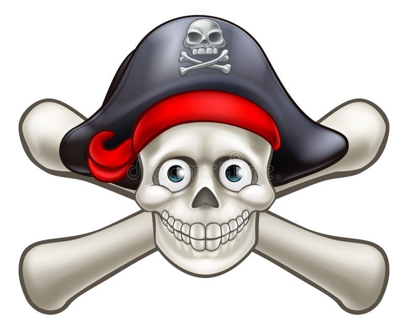 Crânio e ossos cruzados dos desenhos animados do pirata ilustração royalty free