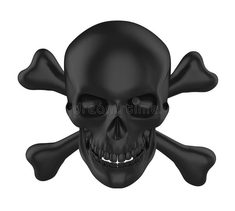 Crânio e ossos cruzados isolados ilustração royalty free