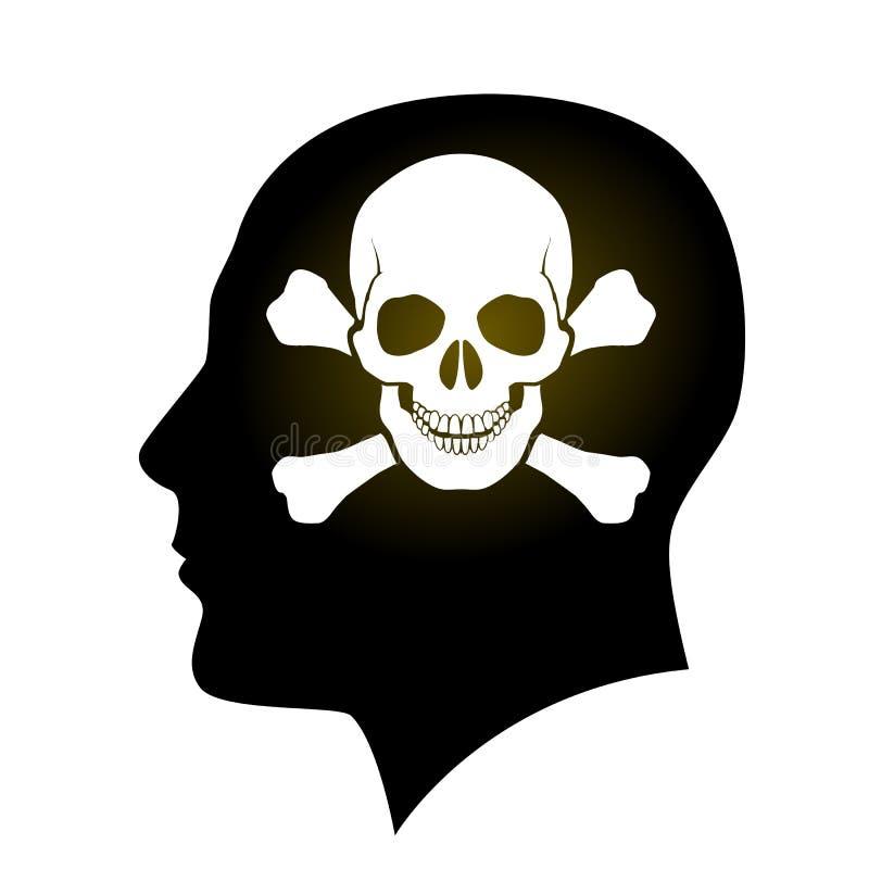 Crânio e ossos cruzados na cabeça ilustração royalty free