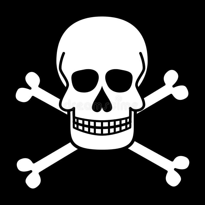 Crânio e ossos cruzados Roger alegre Símbolos do pirata Graphhics do vetor ilustração royalty free